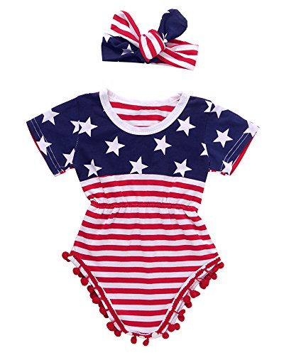 2pcs Uunisex Baby Boy Girl USA Flag Pattern Tassel Balls Summer Romper +Headband (12-18M, Navy Blue&Red)