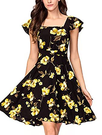 Noctflos Women's Vintage Yellow Floral Square Neck A-line 1956's Cocktail Dress XXXL