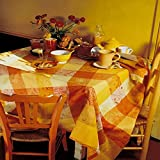 Garnier Thiebaut Mille Couleurs 100% two-ply twisted cotton 71-Inch Round Tablecloth, Soleil, Made in France