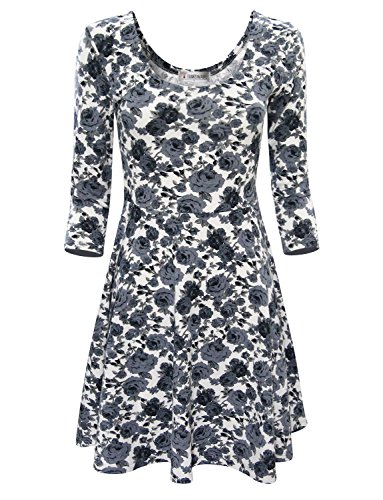 Tom's Ware Women Elegant Floral Print Long Sleeve Scoop Neck Flare Dress TWCWD100-GRAY-US M