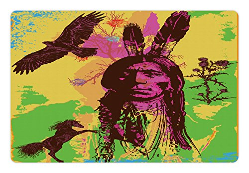 Lunarable Native American Pet Mat for Food and Water, Vintage Portrait of Native Chief with Prancing Horse and Eagle, Rectangle Non-Slip Rubber Mat for Dogs and Cats, Green Purple Yellow - Chief Portrait