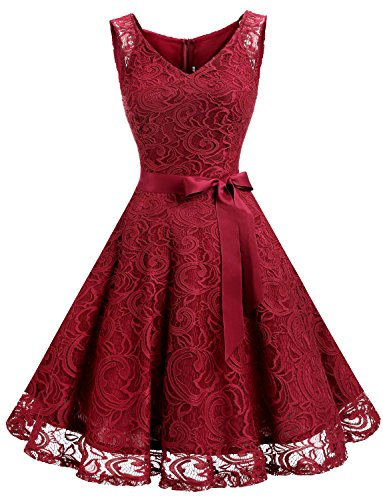 Dressystar DS0010 Floral Lace Bridesmaid Party Dress Short Prom Dress V Neck XXXL Dark - V-neck Waistband