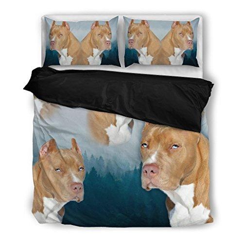 Pit Bull Terrier Bedding Set - Dog Lovers Gifts - Custom Cover Print Design Pillow Cases & Duvet Blanket Cover - Pet Gift (Custom Comforter Sets)