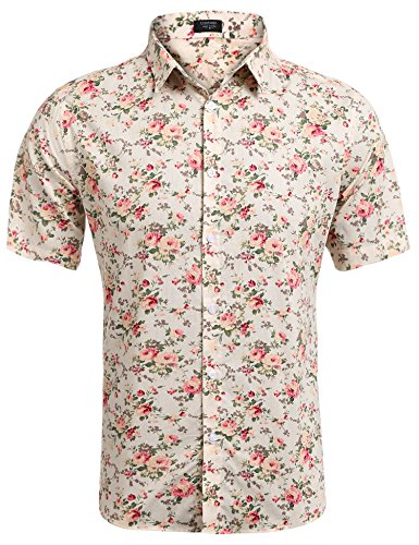 COOFANDY Men's Floral All Over Print Button Down Short Sleeve Shirt,Beige,Medium