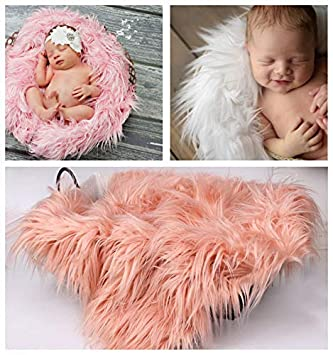 78fddcd82 JTAISC Soft Faux Fur Newborn Photography Props Baby Props Photo Blanket  Photo Rugs (Pink)