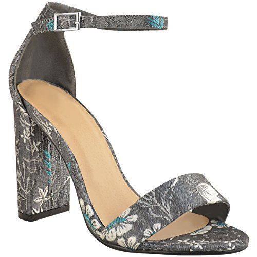 Ankle Womens Thirsty Floral High Evening Fashion Dark Party Grey Shoes Satin Heel Block Sandals Strap w1Axg