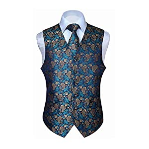 HISDERN Men's Classic Paisley Floral Jacquard Waistcoat & Necktie and Pocket Square Vest Suit Set