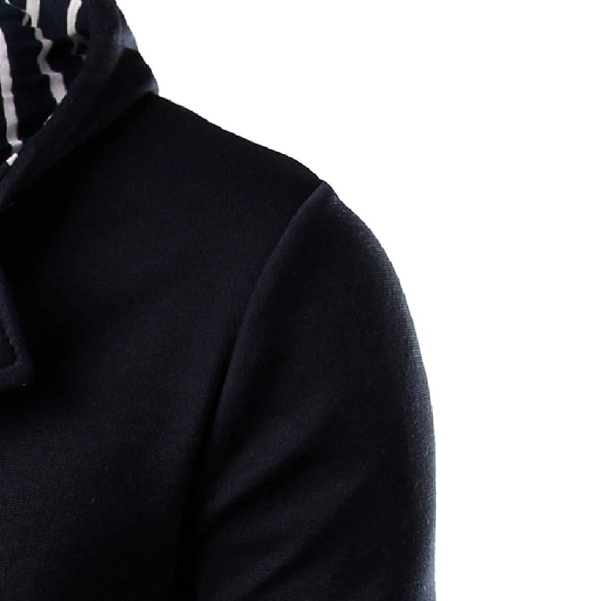Winwinus Men Long Sleeves with Zips Slim Fit Stripe Washed Hooded Sweatshirt
