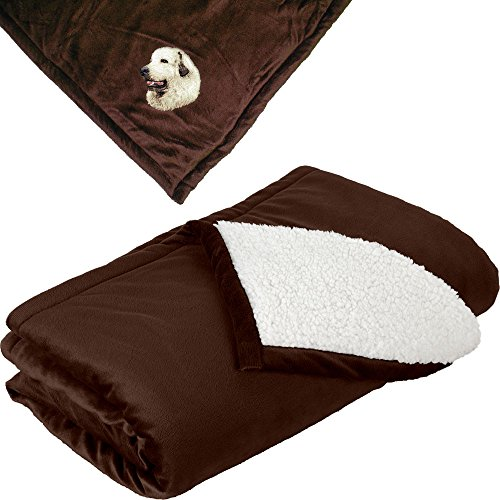 - Cherrybrook Dog Breed Embroidered Mountain Lodge Reversible Blanket - Brown - Great Pyrenees