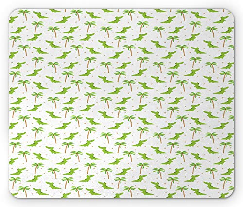 (Lunarable Alligator Mouse Pad, Cartoon Crocodiles with Tropic Palm Trees Nursery Design Composition, Standard Size Rectangle Non-Slip Rubber Mousepad, Lime Green White Camel )