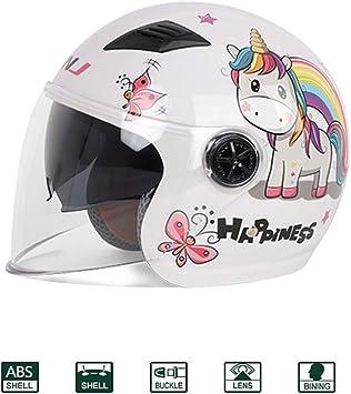 KuaiKeSport Half-Helmet Casco De Moto Scooter Ni/ño,Carretera Moto Cascos Ni/ño Motocross Casco,Bicicleta Casco Patinete Electrico La Seguridad Proteccion con Gafas de Doble Protecci/ón-ECE Homologado