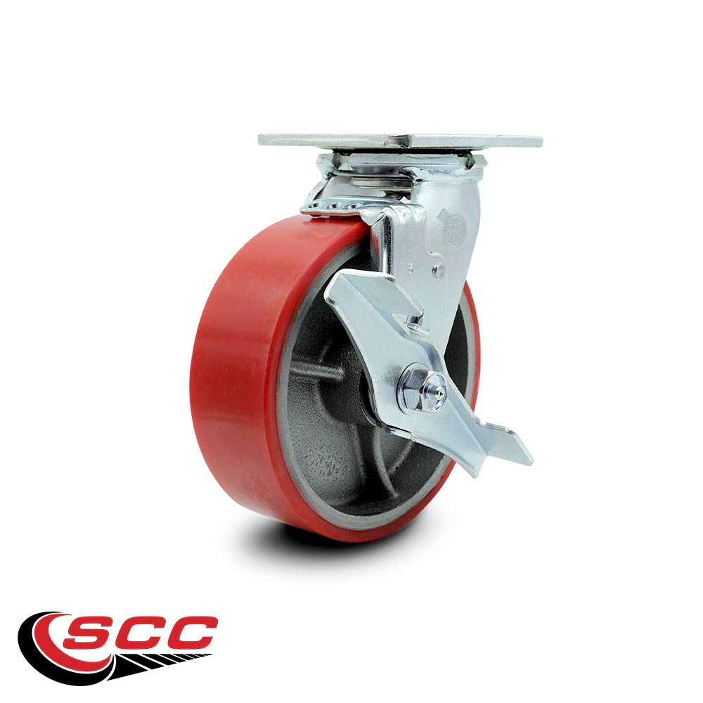 Service Caster - 6'' x 2'' Polyurethane Wheel Caster Set - Red on Silver - 2 Swivel with Brakes and 2 Swivel - Non Marking - 4,800 Lbs Total Capacity - Set of 4 by Service Caster (Image #5)
