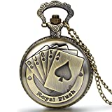 JewelryWe Steampunk Antique Royal Flush Poker Cards Men Women Pocket Watch for Mothers Day Gift with 31.5