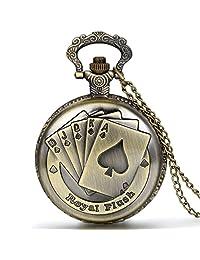 JewelryWe Poker Card Bronze Pendant Royal Flush White Dial Arabic Numerals Long Chain Pocket Watch Quartz Movement Full Hunter Sweater Necklace Watch