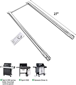Uniflasy 7507 Grill Burner Tubes for Weber Spirit 210/200 Series, E-200, E-210, S-200, S-210 (with Side Control), Spirit 500, Genesis Silver A, Stainless Steel Gas Grill Burner Tube Kit, 27 Inch