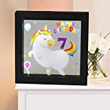 Obrecis Light Up Unicorn And Rainbow Picture Frame, Unicorn Sign Night Lights For Party Supplies Table Wall Decoration, Great Birthday Gift Present For Girls And Boys Age 7 Years Old