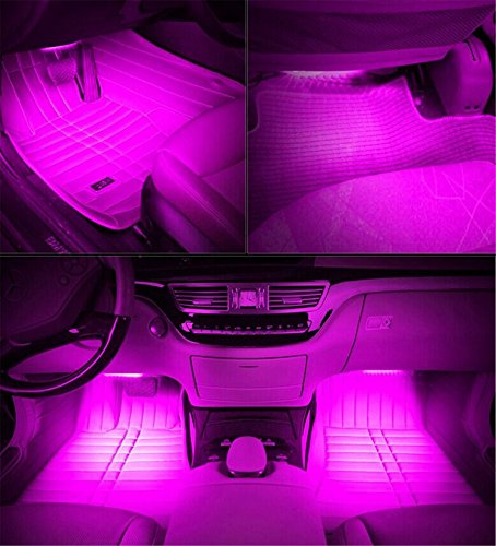 automotive, lights & lighting accessories, accent & off road lighting, led & neon lights,  neon accent lights  image, HengJia Auto Parts LED Car Interior Floor Decorative Atmosphere Lights Strip Waterproof Glow Neon Interior Decoration Lamp?pink? in US2