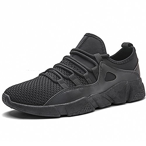 Pp Fashion Hombres Teenagers Zapatos Ligeros Para Caminar Comfy Knit Tela Elástica Transpirable Sneakers Gym Training Running Tennis Zapatos Negro