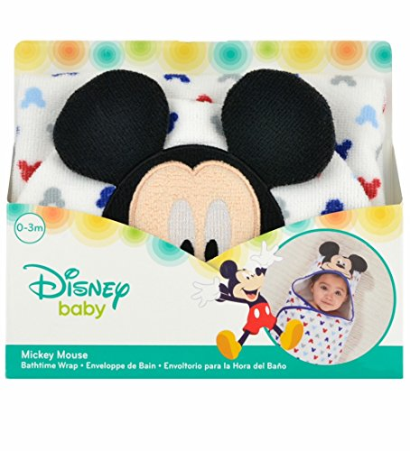 Disney Baby Mickey Mouse Embroidered Hooded Bath Swaddle, White, Blue, Red, Grey, 24.5