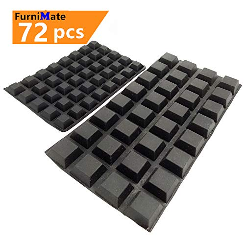 Black Rubber Feet Non Slip 72PCS Self Adhesive Rubber Bumper Pads Tall Square Bumpers for Electronics Speakers Computers Laptop Keyboard PS4 Furniture
