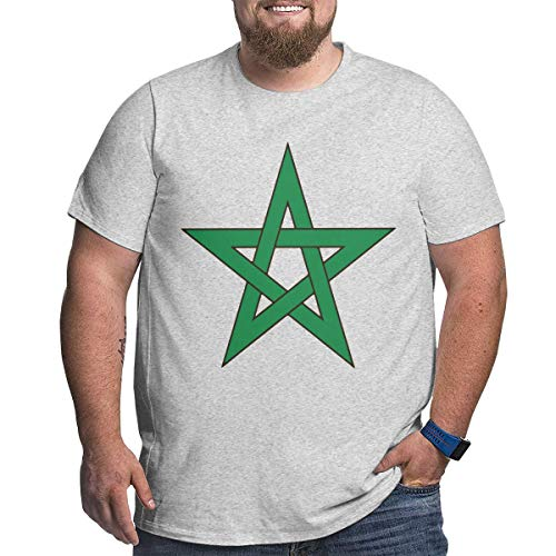 Geeboomee Morocco Flag Men's Cotton Loose Crew Neck Plus-Size Short Sleeve Extra Large T Shirt Gray