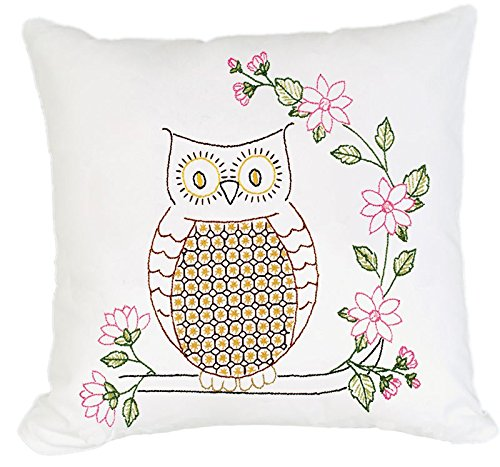 Owl 2 Embroidery (Jack Dempsey Stamped White Pillow Tops, 15-Inch by 15-Inch, Chicken Scratch Owls, 2-Pack)