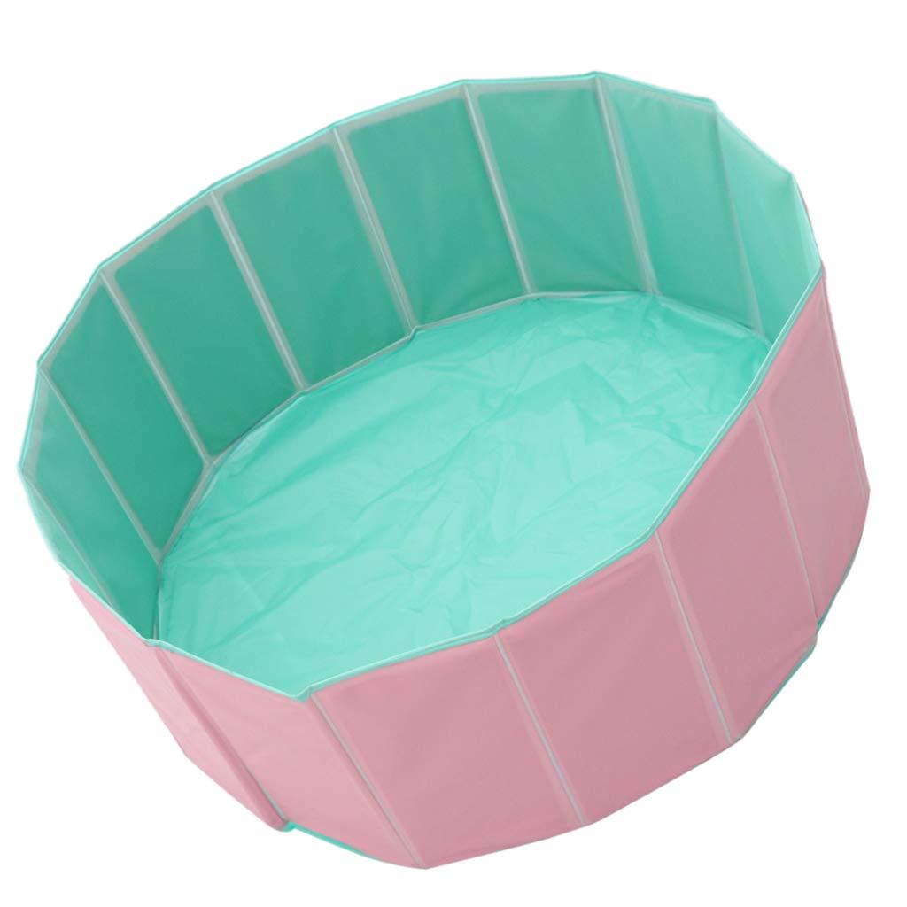 B Blesiya Foldable PVC Pet Cat Dog Swimming Pool Inflatable Bathing Tub Bathtub Fit for S M L Puppy Diameter 80cm 31.5inch (Pink)