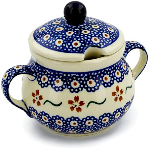 Polish Pottery 7 oz Sugar Bowl (Sweet Red Flower Theme) + Certificate of Authenticity ()