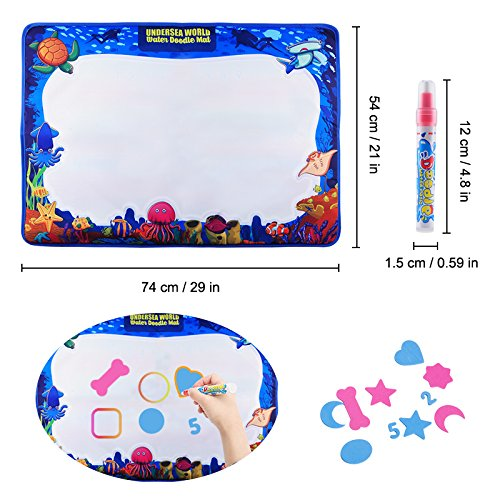 Magic Water Drawing Mat, Upgrade Doodle Mat in 7-Colored, Aqua Painting Board Writing Mats with Magic Pen & Big Molds, Best Educational Toys Gifts for Boys Girls Age 2 3 4 5+ Year Kids/Toddlers