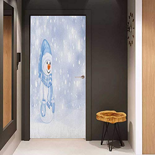 Onefzc Wood Door Sticker Winter Kids Toddler Design Happy Snowman Cartoon Style Figure Merry Christmas Theme Easy-to-Clean, Durable W32 x H80 Pale Blue - Boston Snowman Sox Red
