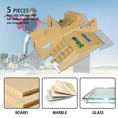 TIME4DEALS Finger Skateboard Park 8pcs Skate Park Kit Ramp Parts, Mini Fingerboard Rails Starter Kit with 3 fingerboards & 5 Silicone Mat Set by TIME4DEALS (Image #1)