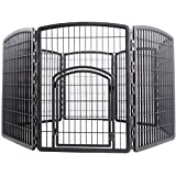 IRIS 34'' Exercise 8-Panel Pet Playpen with Door, Dark Gray