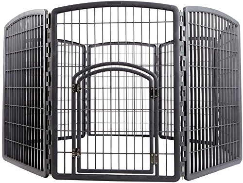 Whelping Box Puppy (IRIS Exercise 8 Panel Pen Panel Pet Playpen with Door - 34 Inch, Gray)