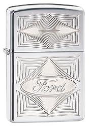 Zippo Ford Logo Pocket Lighter, Street Chrome