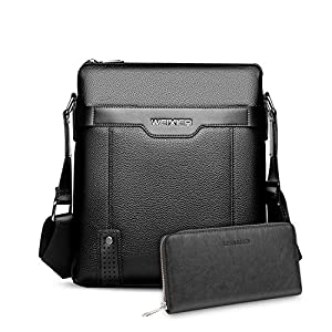 FANDARE Men's Shoulder Bag Messenger Crossbody Satchel Office Work Bag Fits iPad 9.7 inch Tablets Waterproof Travel Bookbag, with Clutch Bag Long Wallet Black A