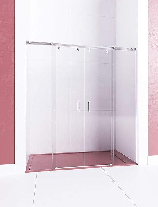 Modelo ARWEN - Mampara de ducha frontal de 2 hojas fijas y 2 ...
