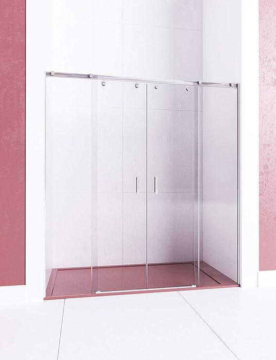 Modelo ARWEN - Mampara de ducha frontal de 2 hojas fijas y 2 puertas correderas - Cristal 6 mm en Puertas y 8 mm en fijo con ANTICAL INCLUIDO: Amazon.es: Bricolaje y herramientas