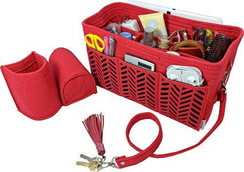 BELIANTO Felt Purse Organizer Insert Bag Organizer Handbag Organizer comes with Middle Insert, Bottle Holders, Key Finder, D rings (Herringbone Pattern) (Large, Red)