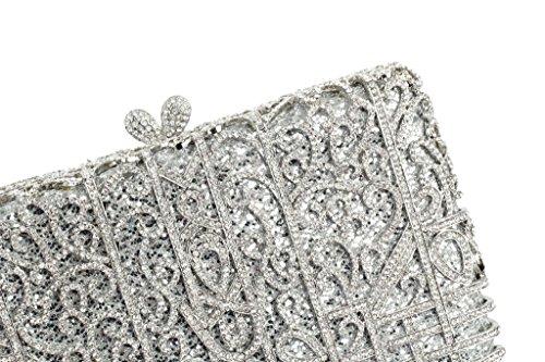 Yilongsheng Ladies soirée Pochettes avec volet en forme de cristal Diamonds (argent)