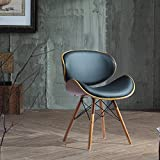 Corvus Madonna Walnut and Black Finished Contemporary Bent Look 30-inch Mid-century Style Chair (1)