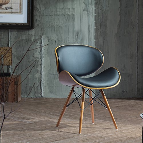 Corvus Madonna Walnut And Black Finished Contemporary Bent Look 30 Inch Mid  Century Style Chair (1)