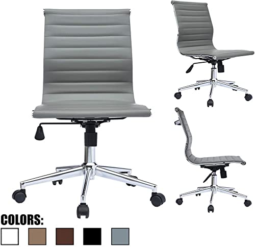 2xhome Modern Mid Back Office Chair Armless Ribbed PU Leather Swivel Tilt Adjustable Chair Designer Boss Executive Management Manager Office Conference Room Work Task Computer Grey