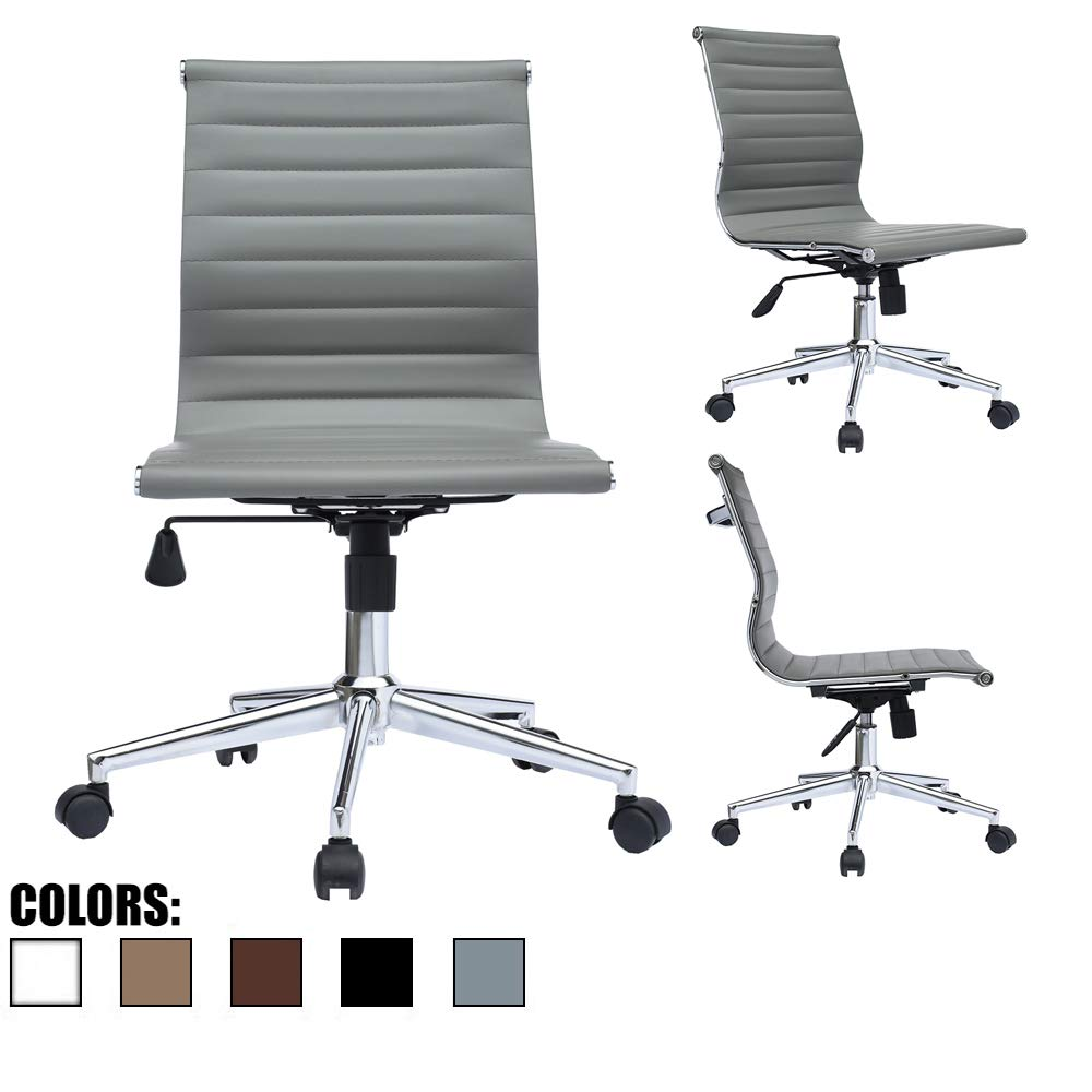 2xhome Grey Modern Mid Back Office Chair Armless Ribbed PU Leather Swivel Tilt Adjustable Office Chair No Arms Designer Boss Executive Management Manager Conference Room Work Task Computer