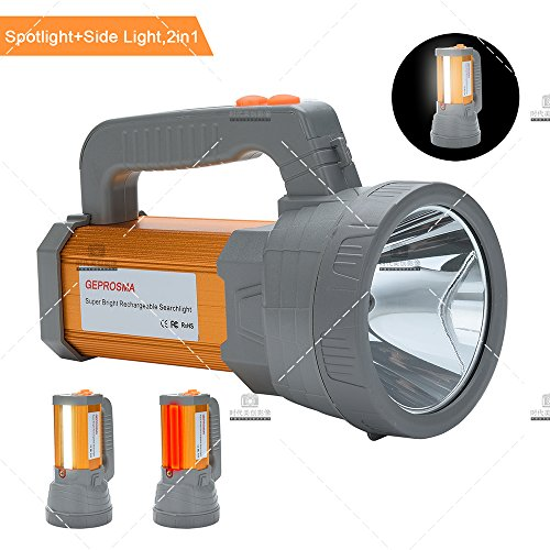 High Powered Rechargeable LED Spotlight Flashlight Super Bright High 6000 Lumens CREE Handheld Searchlight Torch Large Battery 10000mah Long Lasting, Side Flood Light for Camping Lantern Work Light