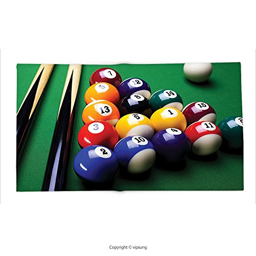Custom printed Throw Blanket with Manly Decor Collection Billiard Pool Balls Arrangement Snooker Contest Beginning Entertainment Game Picture Green Yellow Red Super soft and Cozy Fleece Blanket
