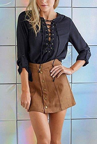 COMVIP Women's Solid Autumn Button Closure A-line Mini Short Skirts Khaki M by COMVIP (Image #6)