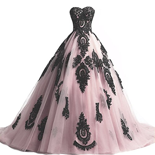 Black Lace Long Tulle A Line Prom Dresses Evening Party Corset ...