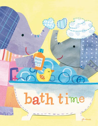 Oopsy Daisy Canvas Wall Art Taking a Bath by Jill McDonald