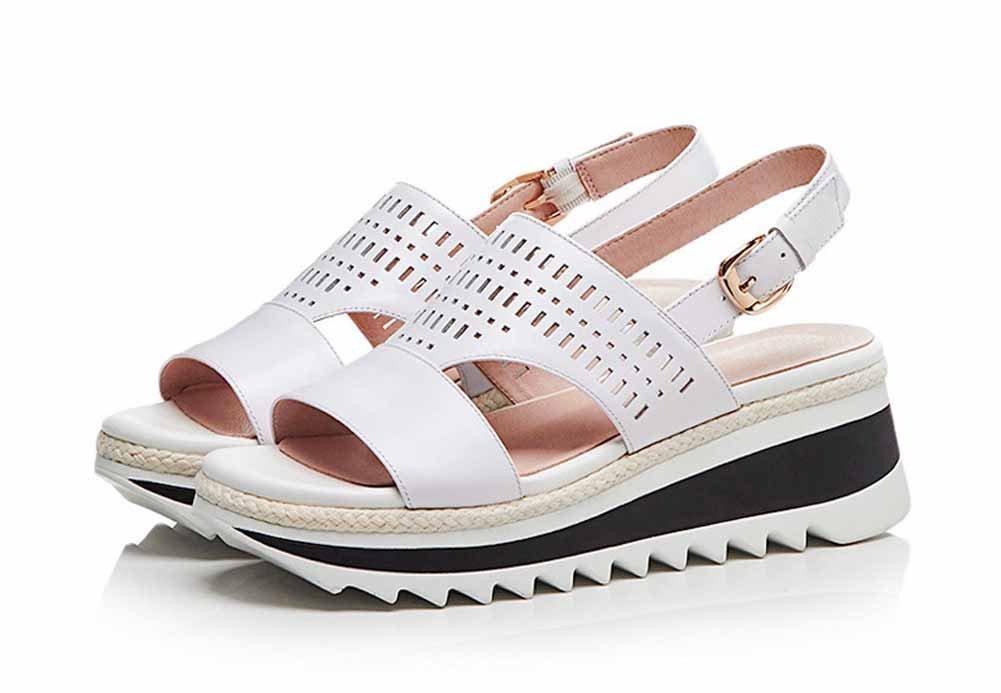 SHINIK Femmes Peep Peep Femmes Toe Sandals 2018 Été Nouvelle Plate-Forme de Wedge Ronde en Cuir Creux Boucles Sandales 37|Blanc d2a0a8