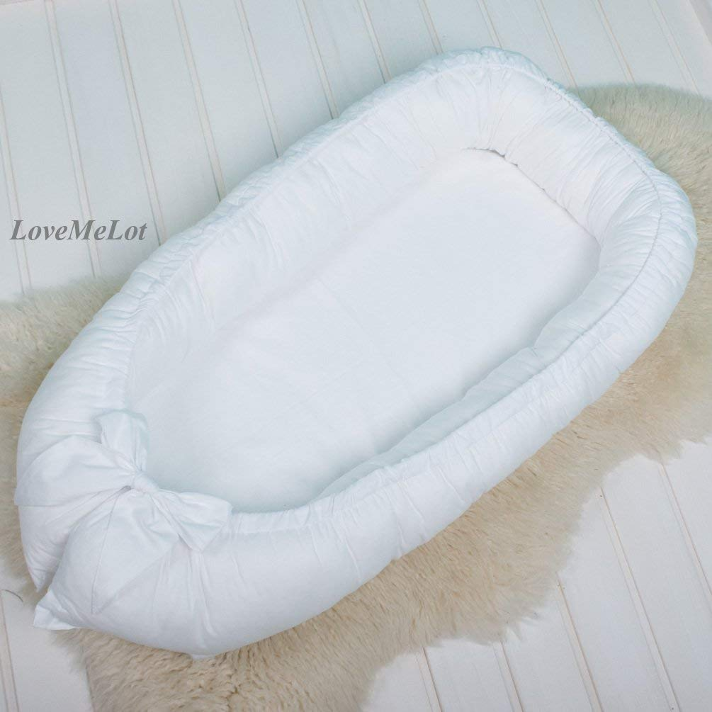 White Baby nest bed or Toddler size nest, cocoon portable crib lounger baby bassinet co sleeper babynest babynest bed travel pad pod for newborn